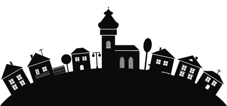 village, black silhouette Vector