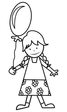 wench: girl and balloon, coloring Illustration