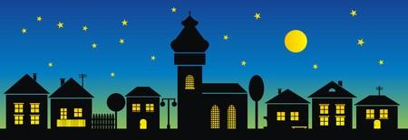 ursa: town,night Illustration
