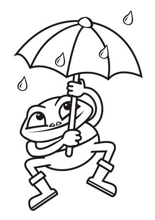 Frog and umbrella, coloring book Vector