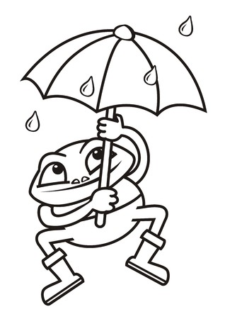 brolly: Frog and umbrella, coloring book