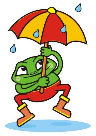 zapatos caricatura: Rana y paraguas