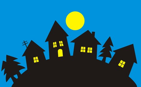 Village, night landscape Vector