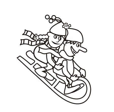 toboggan: sledding,coloring book Illustration
