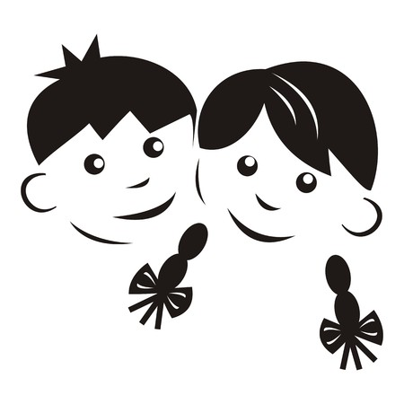 wench: children, black silhouette Illustration