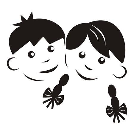 children, black silhouette Illustration