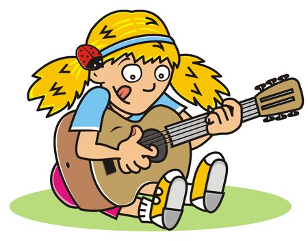 wench: Girl playing guitar Illustration