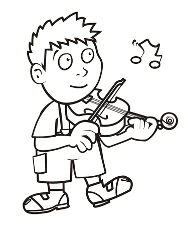violinist, coloring book Vector
