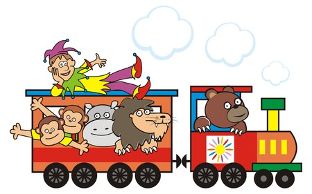 cartoon hippo: train and animals