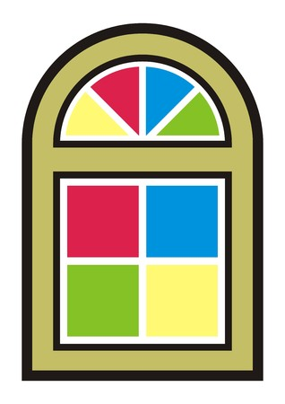 Color arched window Illustration