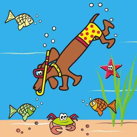 vac: Dog and snorkel Illustration