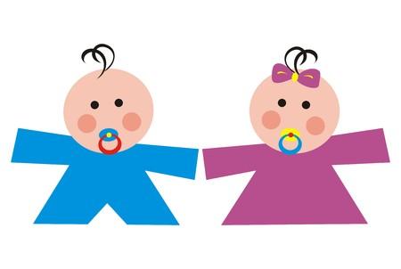 toddler: toddler, boy and girl Illustration
