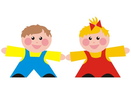 wench: children, boy and girl Illustration