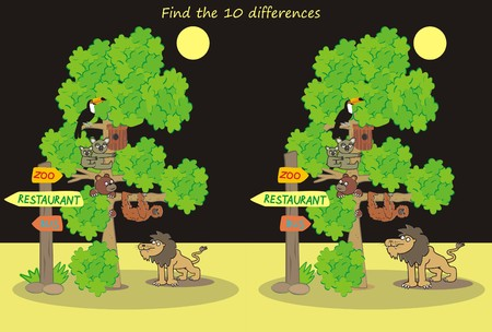 bush babies: ZOO,find ten differences