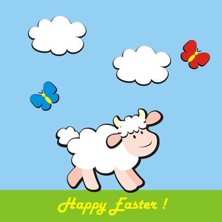 felicitation: happy easter, sheep