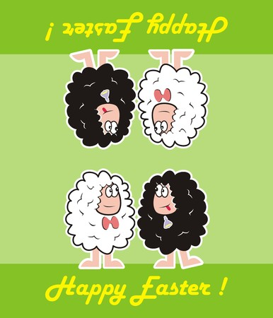 happy easter, sheep Vector