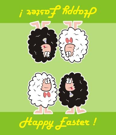 reversible: happy easter, sheep