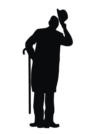 bowing: man, silhouette Illustration