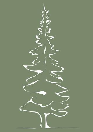 tree,white sketch Vector