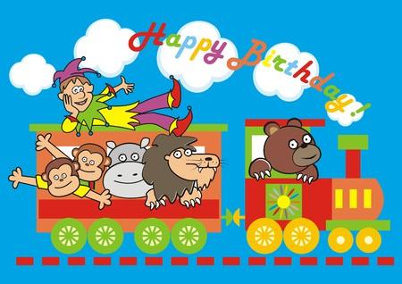 vac: locomotive and animals, birthday Illustration