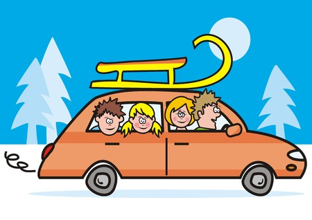 car, winter vacation Vector