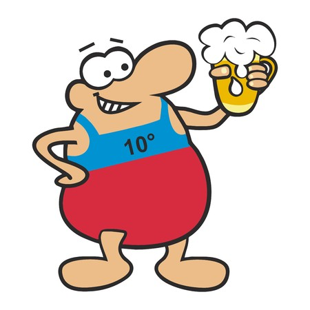 chap: Fat Man and beer Illustration
