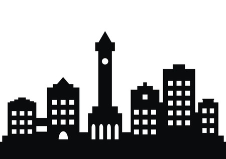 frontage: town, black silhouette Illustration