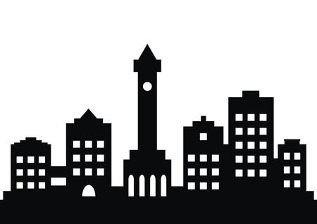 town, black silhouette 矢量图像