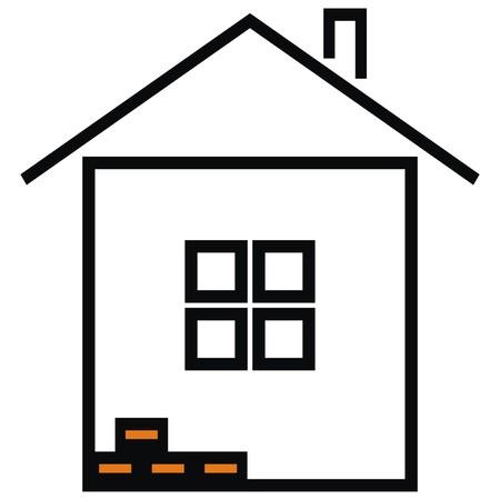 the contour: house, black contour Illustration