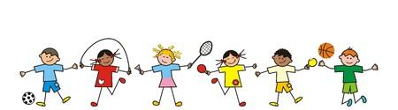 children, line Illustration