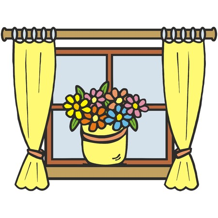 windowsill: Window decorations. Flowers and curtain. Illustration