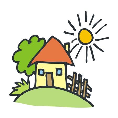 家の風景  イラスト・ベクター素材