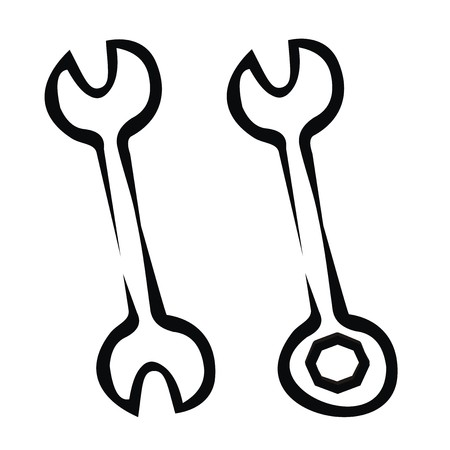 two wrench, sketch Vector