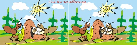 anthill: ant, game, find ten differences