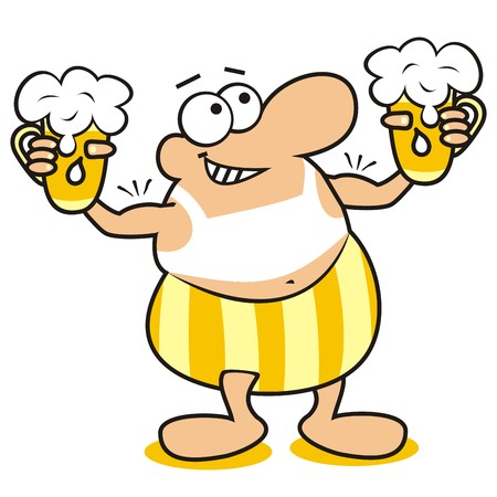man en bier, mascotte Stock Illustratie