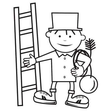 chimney sweep, coloring book Vector