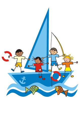 children and sailboat