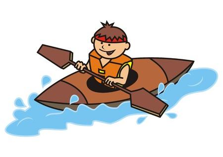 カヤックと少年  イラスト・ベクター素材