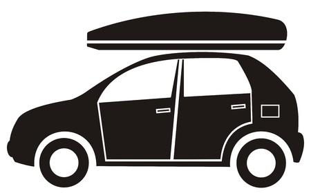 car and bag, black silhouette Ilustracja
