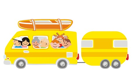 grandpapa: car and big family Illustration