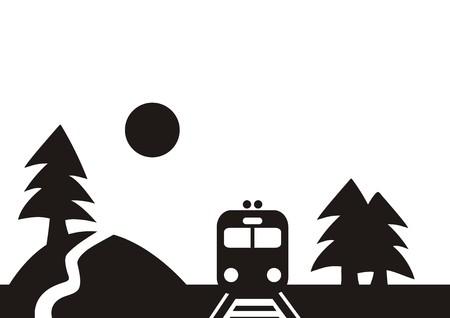 railcar: Landscape and train, black silhouette