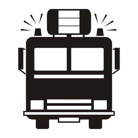camion de pompier: camion de pompiers, silhouette noire