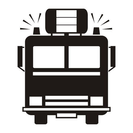 fire truck: fire truck, black silhouette Illustration