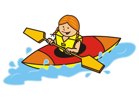 kayak y niña