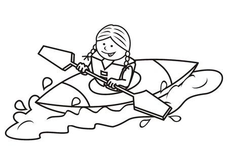 ocean kayak: chica y kayak, libro para colorear Vectores