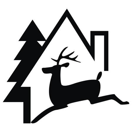 residency: house and deer Illustration