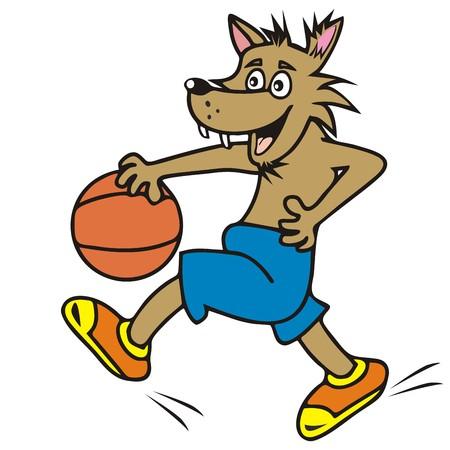 pelota caricatura: lobo, baloncesto Vectores
