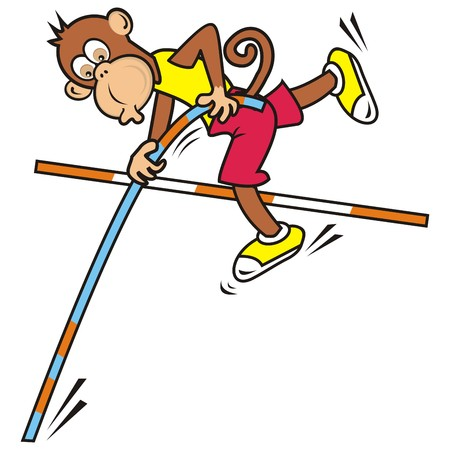 high jump: monkey,high jump Illustration