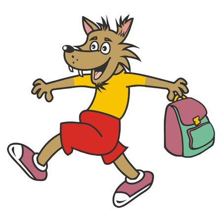 wolf and bag Vector