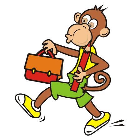 monkey and schoolbag Vector